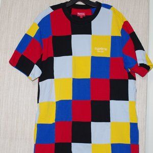 Supreme Patchwork Pique Tee Yellow/Blue/Red Size:L